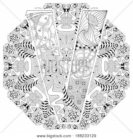 Hand-painted art design. Adult anti-stress coloring page. Black and white hand drawn illustration mandala with letter V for coloring book