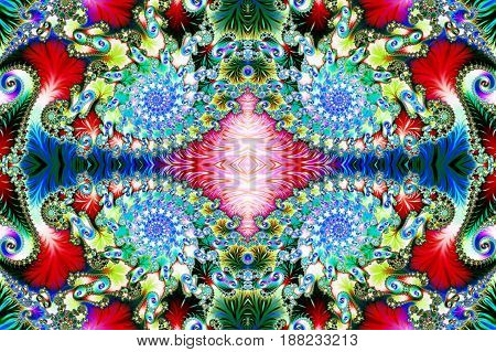 Multicolored Background with Spiral Pattern. Collection - Oriental tales. Artwork for creative design art and entertainment.