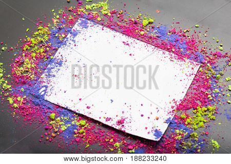 Colorful make-up frame with make-up powder with copyspace