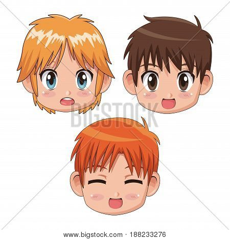 set front view face cute anime tennagers facial expression vector illustration