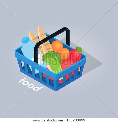 Food in basket from grocery store with loafs of bread, fresh fruits and vegetables and big bottle of water isolated on grey background. Food shopping online at home. E commerce vector illustration.