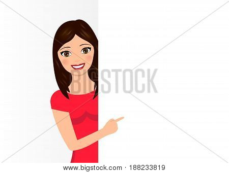 Woman pointing her finger up. Girl pointing around a sign. Vector illustration. Eps 10