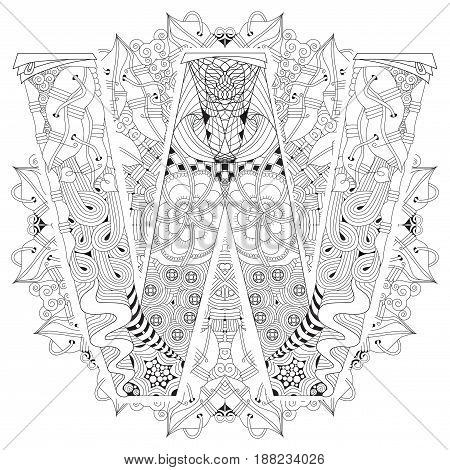 Hand-painted art design. Adult anti-stress coloring page. Black and white hand drawn illustration mandala with letter W for coloring book