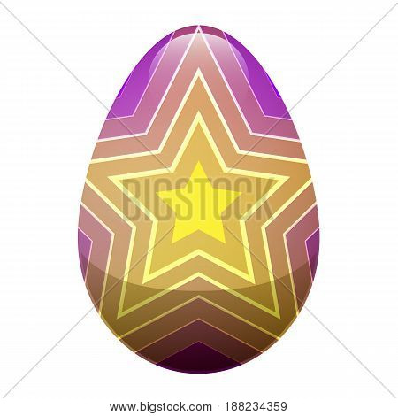 Easter egg isolated on white background. Holiday mascot oval shape, purple egg with yellow shining growing star. Vector illustration of chocolate sweet candy gift in cartoon style, realistic design