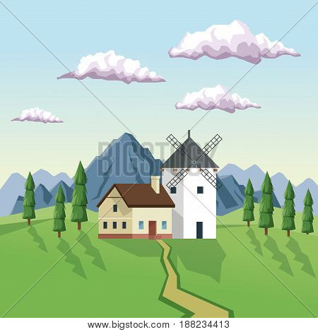 colorful background with daytime landscape of field mountains and house with windmill vector illustration