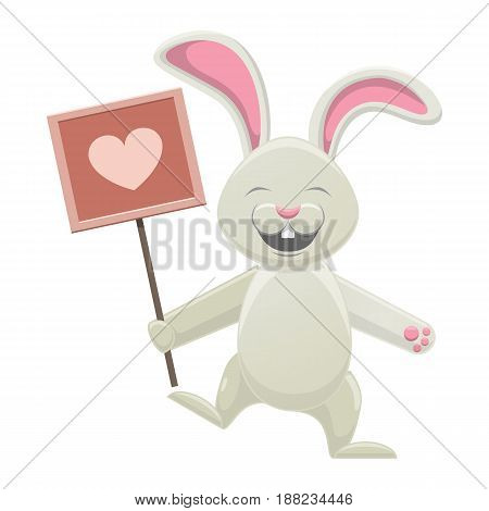 Smiling white bunny holding poster with rosy heart isolated on white. Easter symbol with pink long ears, open mouth and two teeth. Vector illustration of lovely spring mascot cartoon style drawn icon.