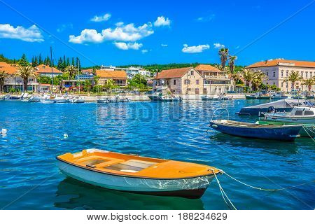 Waterfront view at ancient fishing place on Island Hvar, Starigrad town, Croatia summertime resorts.