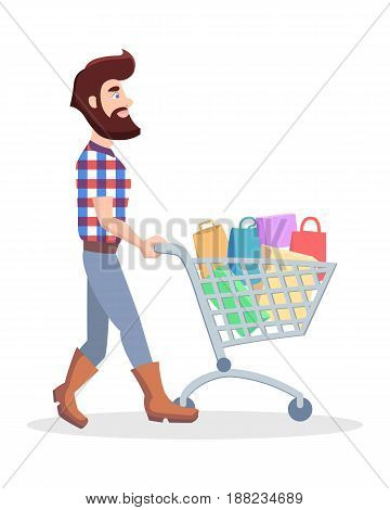 Bearded hipster with shopping trolley full of goods vector illustration. Holiday shopping flat concept isolated on white background. Male cartoon character make purchases in supermarket icon