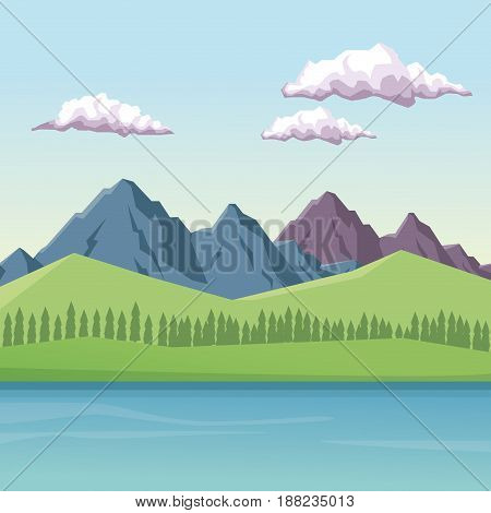 colorful background with daytime mountain valley landscape and lake vector illustration