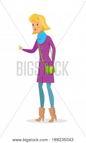 Cartoon woman in warm clothes and green handbag points her hand. Vector icon of isolated kind female person in violet coat, blue scarf, beige high-heeled boots and jeans trying to explain something