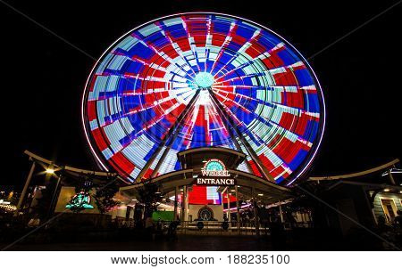 Pigeon Forge, Tennessee, USA - May 15, 2017: The Great Smoky Mountain Sky Wheel located at the Island amusement and shopping mall in Pigeon Forge, Tennessee.