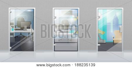 Office workplace through glossy glass door view flat vector. Entrance to the cabinet with table, computer on it and chair. Set of modern office interior design illustrations for business concepts
