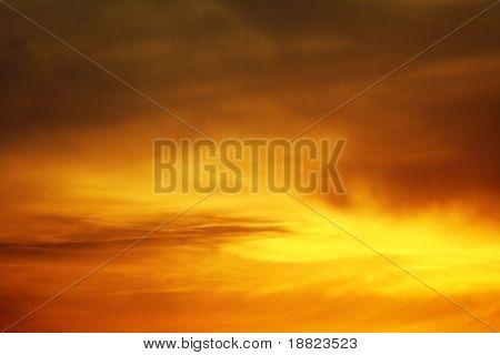 Glowing dusk sky