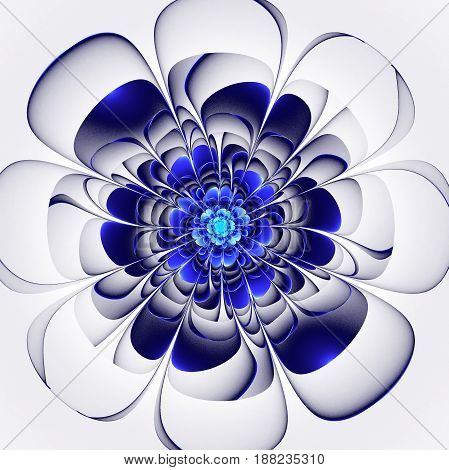 Beautiful blue flower on white background. Computer generated graphics.