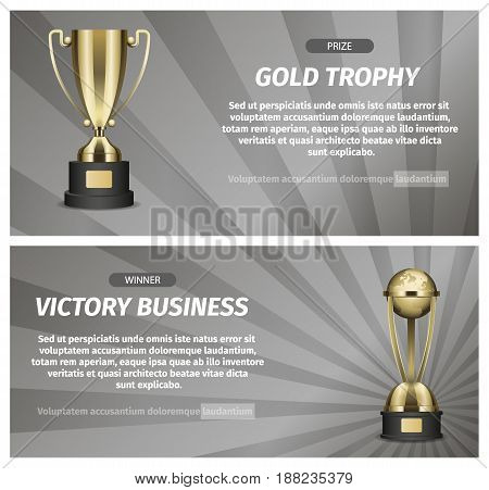Gold trophy for victory business vector illustration. Prize for successful business project. Honorable award for great achievements in marketing and teambuilding. Perspective startup winning reward.