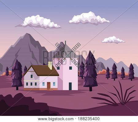 colorful background with dawn landscape of field mountains and house with windmill vector illustration