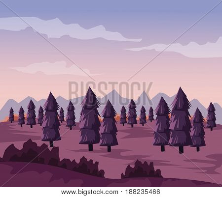 colorful background with dawn landscape of valley with trees vector illustration