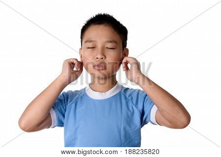 Young Asian Boy Has Pain On Ear