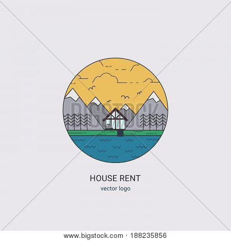 House Rent Vector Line Logo.