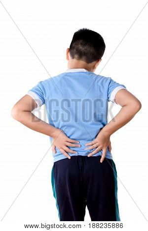 Young Asian Boy Has A Back Pain