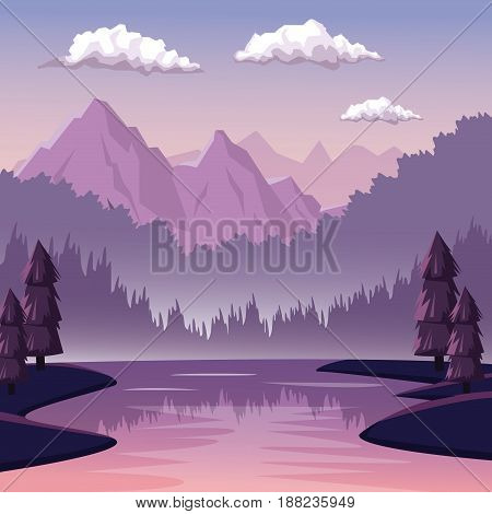 colorful background with dawn landscape of mountain and river vector illustration