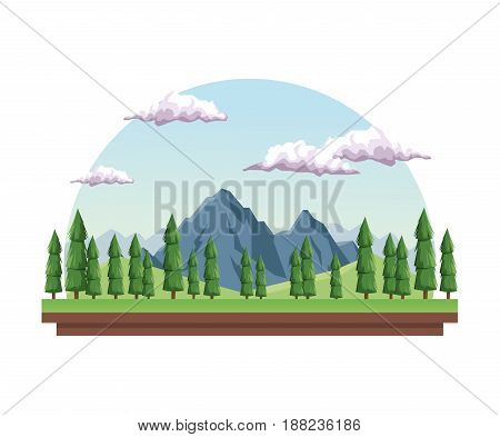 white background with daytime landscape in half round frame with mountain valley vector illustration