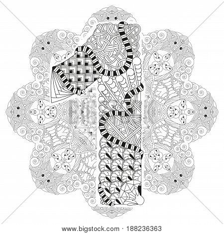 Hand-painted art design. Adult anti-stress coloring page. Black and white hand drawn illustration mandala with numero one for coloring book