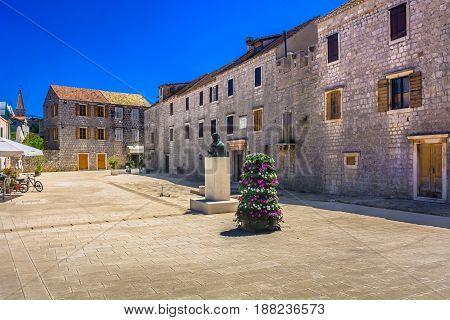 Old landmark in Starigrad town, Island Hvar in Croatia.