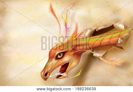 Dragons breaks through a paper background. Vector illustration