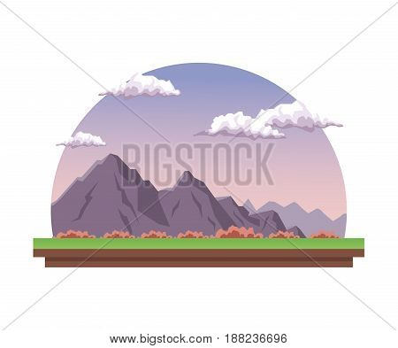 white background with dawn landscape in half round frame with rock mountain and valley vector illustration