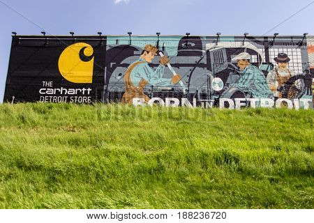 Detroit, Michigan, USA - May 18, 2017: The Carhartt Store in Detroit Michigan. Founded in 1889, the Detroit based company is world renowned for creating durable clothing for America's working class.