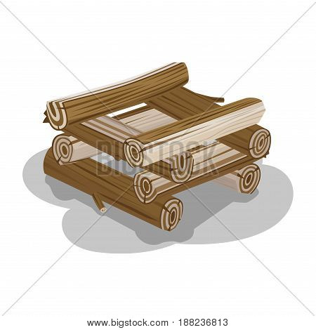 Neatly stacked firewood with shadow on white background. Elements to make fire. Outdoor pastime on nature. Firewood elements. Isolated vector illustration of natural materials that useful in hike.