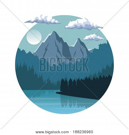 white background with night landscape in round frame with mountains and river vector illustration