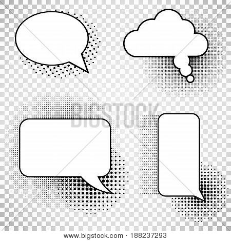 Collection comics speech balloons icons collection on checkered background. Set picture blank template comic text speech chat bubble halftone dot background style pop art. Vector illustration. Eps 10