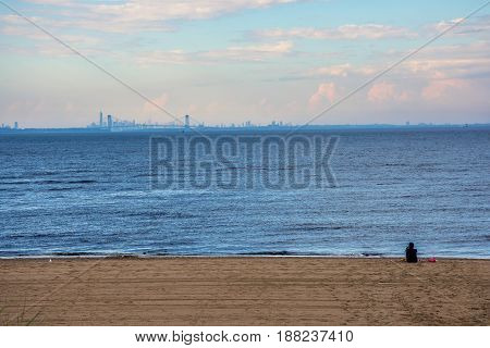A distant view towards New York City as seen from Keansburg Beach along the Jersey shore.