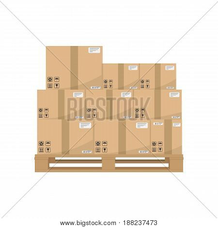 Boxes on wooded pallet. Brown closed carton delivery packaging boxes with fragile signs on wooden pallet Isolated on white background. Vector illustration eps 10