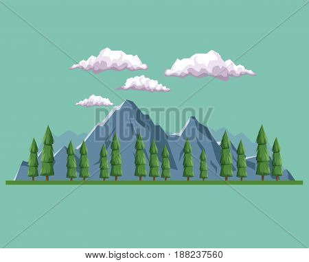 daytime background landscape of mountain and valley of trees vector illustration