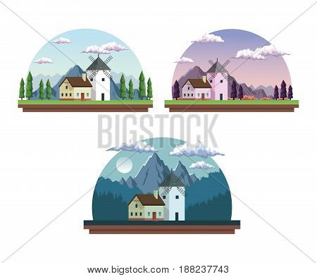white background with half round frames set of landscapes in with daytime and dawn and night vector illustration
