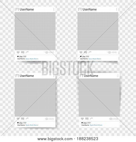 Set of vector template photo frame. Social network photo frame. Design for your photography and picture. Isolated on transparent background. Vector illustration eps 10