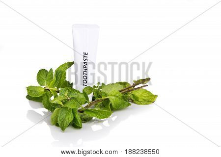 Toothpaste tube and fresh mint leafs on white background