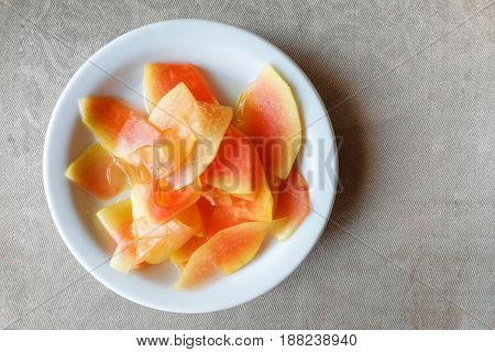 Plate Of Pickled Papaya, Delicacy In Southeast Asia