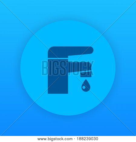 Faucet icon, bathroom symbol, eps 10 file, easy to edit