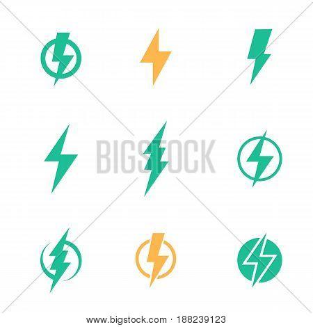Lightning bolt signs on white, eps 10 file, easy to edit