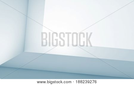 Abstract Empty Blue White Background 3 D