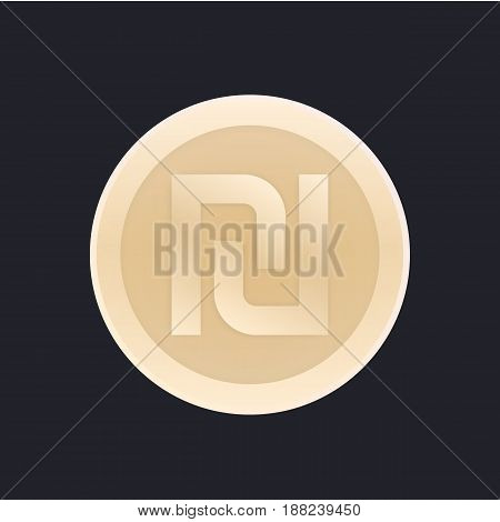 shekel, israeli coin vector icon, eps 10 file, easy to edit