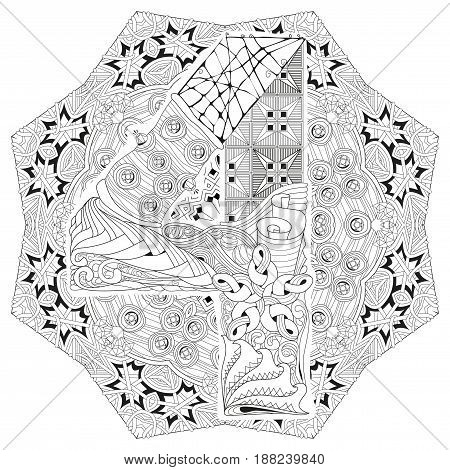 Hand-painted art design. Adult anti-stress coloring page. Black and white hand drawn illustration mandala with numero four for coloring book