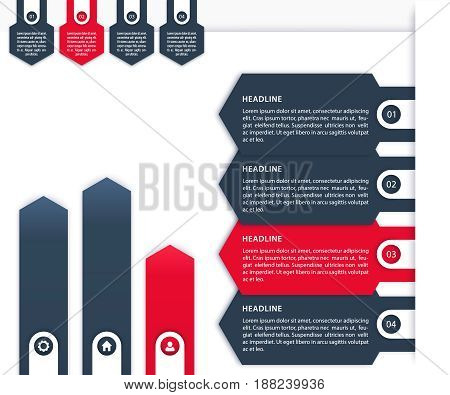 Business Infographics vector elements, 1, 2, 3, 4 steps, timeline and arrows in blue and red over white