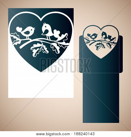 Couple of doves on an oak branch inside the heart. Vector Laser cutting template for an envelope.
