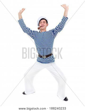 young dancer man dressed as a sailor posing against isolated white background in full length.