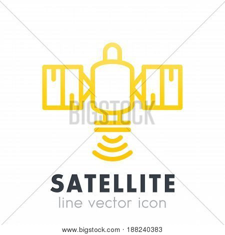 satellite icon in line style over white, vector illustration